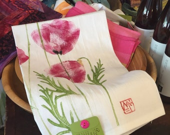 Dish Towel, Hand Printed by Molly Thompson: Poppies
