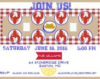 Lobster Invitation Summer Party Lobsterfest Lobster Boil Printable Invitation