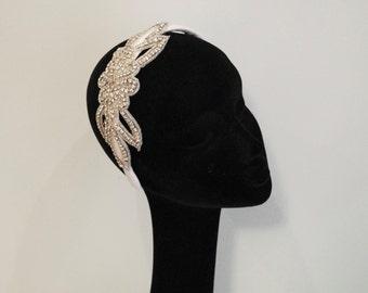 Headband with rhinestone trim