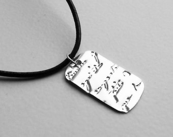 Silver filled French Script Tag Pendant