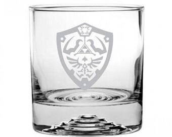 Zelda Hylian Shield Etched Rocks Glass