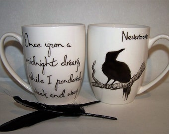 Raven Mug Edgar Allan Poe NEVERMORE.  Hand Painted to order
