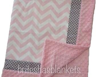 Baby pink chevron, grey dot pink minky dot baby blanket