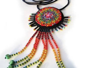 Indian Style Multicolor Romantic Necklace with Bead Embroidered Pendant