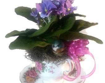 African Violet Plant, Small Flower Arrangemnet, Get Well Soon Gift, Birthday Gift For Mom, Birthday Gift For Best Friend, Grandma Gift