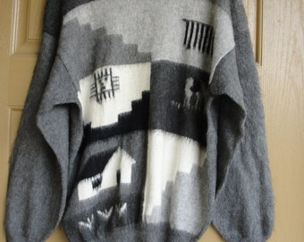 Vintage 80s 90s  alpaca sweater mens womens large XL grey gray