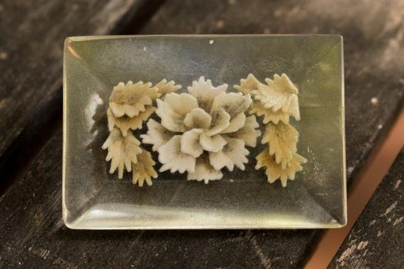 Pressed Flowers Bakelite Pin