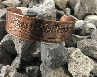 Copper Etched  Christian Bracelet SAS by Design hand crafted metal works
