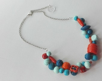 Wooden weaves Orange and turquoise necklace