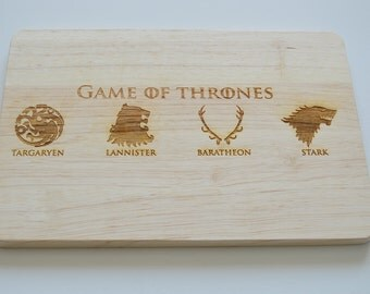Game Of Thrones Engraved Wood Chopping Board, GOT Houses Board, Cheeseboard, Stark, Game Of Thrones Fans, Birthdays, House Gift, 2 SIZES