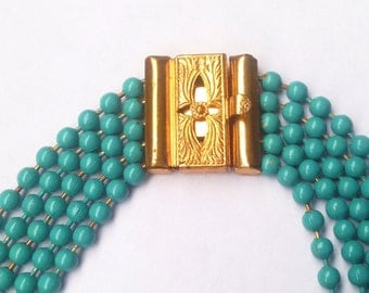 Vintage Teal/Turquoise Metal Bead Necklace with Ornate Gold Clasp