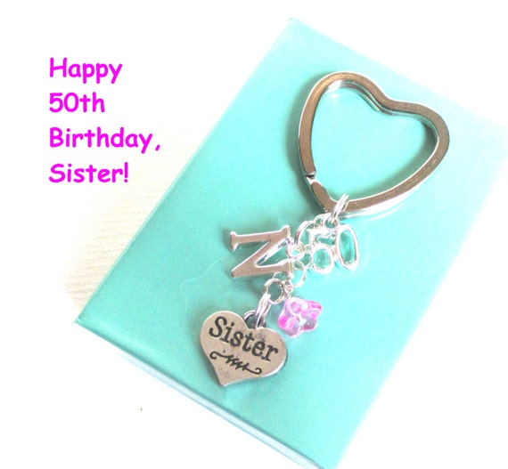 Sister 50th Birthday Gift 50th Keychain By DoodlepopDesigns