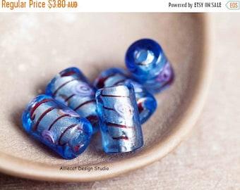JUST BECAUSE DESTASH 5 Blue Cylinder Lampwork Beads (D027)