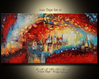 """48"""" Original Abtract  Painting Contemporary Modern Textured Palette Knife by Lana Guise"""