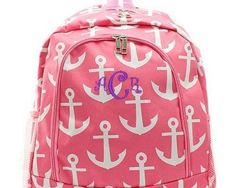 Personalized Anchor Pink Backpack Monogrammed Bookbag Nautical Girls Large Kids Tote School Bag Embroidered Monogram Name
