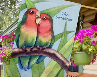 Personalized Love Birds House Flag