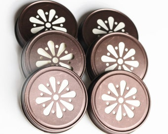 HOT SALE -  6 Rustic Bronze Mason Jar Lids, Daisy Flower Cut, Bronze Finish, with Removable Pulp Liner, Made in the USA