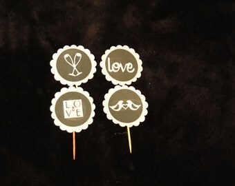 Engagement wedding Cupcake Toppers