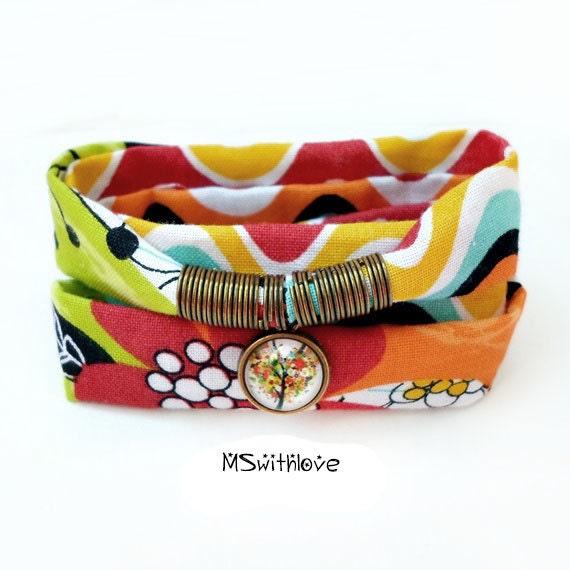 colorful fabric wrap bracelet tree of bracelet