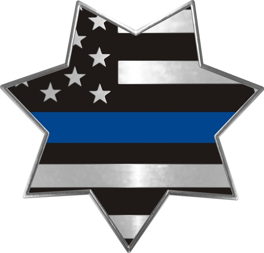 4 thin blue line flag 7 point star metallic reflective. Black Bedroom Furniture Sets. Home Design Ideas