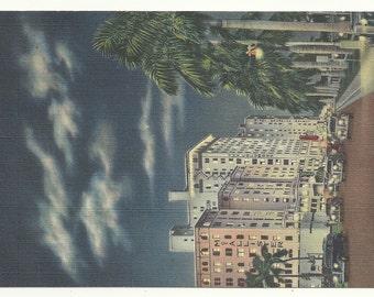 Biscayne Boulevard at Night, Miami, Florida  1947 Postcard