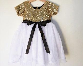 Gold, white and black flower girl's dress, gold sequined dress, short sleeve dress for little girls