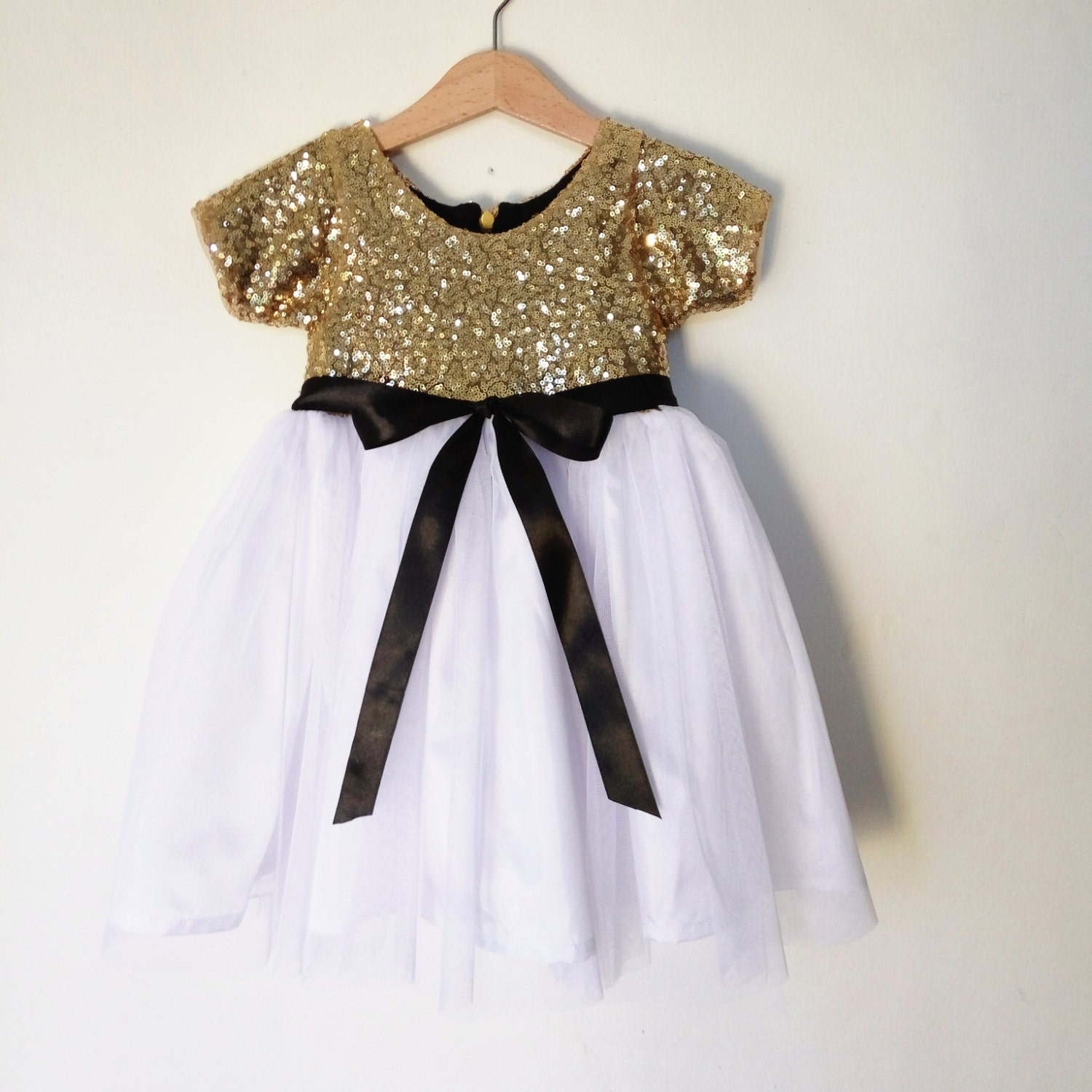 Gold white and black flower girl s dress gold sequined