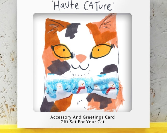 Haute Cature Cat Gift Set - Snowman bowtie with matching collar