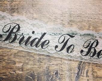 LACE SASH, Bachelorette Sash, Bride to Be Sash, Bridal Bow Sash, Rhinestone Sash, Bow Sash