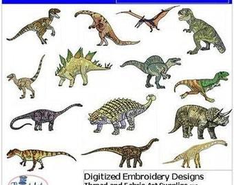 Embroidery Design CD - Dinosaurs(1) - 14 Designs - 9 Formats - Threadart