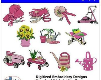 Embroidery Design CD - Gardening(1) - 11 Designs - 9 Formats - Threadart