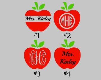 Apple Monogram Decals | Teacher Decals | Apple Decals | Yeti Apple Decals |