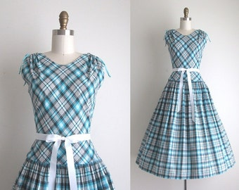 "1950s Dress / Vintage 1950s Sundress / Cotton Plaid Day Dress 28"" Waist"