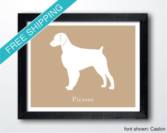 Personalized Brittany Silhouette Print with Custom Name- Brittany art, dog portrait, modern dog home decor
