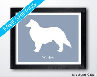 Personalized Collie Silhouette Print with Custom Name - Collie art, dog home decor, dog wall art, dog gift