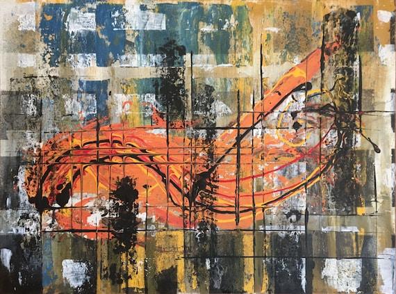 Hummer, Acrylic, Canvas, Mixed Media, Abstract