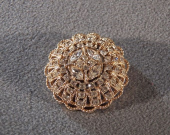 Vintage Gold Tone & Rhinestones Elaborate Ultra Couture Pin Brooch, So Glamorous!~~    **RL