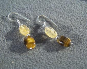 Vintage Tigers Eye Citrine Stone Bead Bold Necklace Earring Set Jewelry **RL