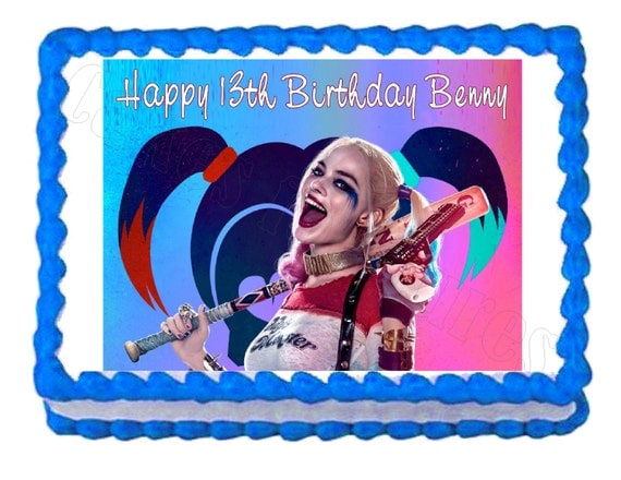 Suicide Squad Harley Quinn Party Decoration Edible Cake Image