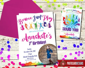 Trampoline Birthday Invitation | Bounce Party | Jump Park | Party | Trampoline | Thank You Tag |  Card | Printable | Digital | file | invite