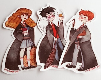 Harry Potter Stickers - Set of 3, Harry Potter, Hermione Granger and Ron Weasley