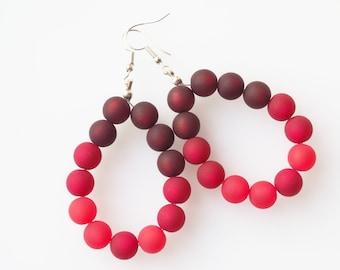 red rainbow earrings colorful earrings polaris pearl earrings