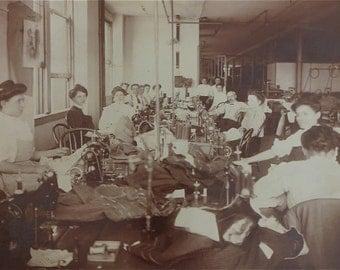 1907 J L Taylors Haberdashery Clothing Manufacturing Sweatshop Photograph 9 1/4 x 7 1/4 - Free Shipping