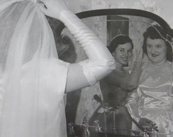 Through The Looking Glass - 1950's Bride Puts On Her Veil Snapshot Photo - Free Shipping