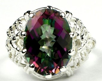 Valentines Sale 30% Off, SR260, 7 ct Mystic Fire Topaz, 925 Sterling Silver Ring