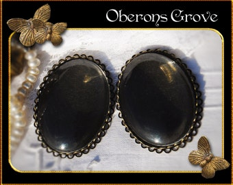 2 filigree settings bronze with 30x40mm cabochons