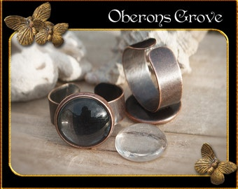 5 ring shanks copper with 14mm Cabochons