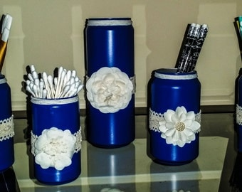 Shabby Chich Aluminum Cans (set of 5)