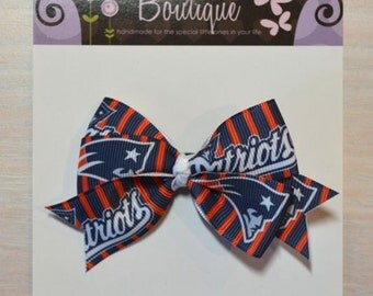 Boutique Style Hair Bow - New England Patriots 2