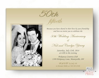 50th Wedding Anniversary Invitations - 50th Anniversary Invitation (Printable) Golden Anniversary Invites - 50 Year Anniversary